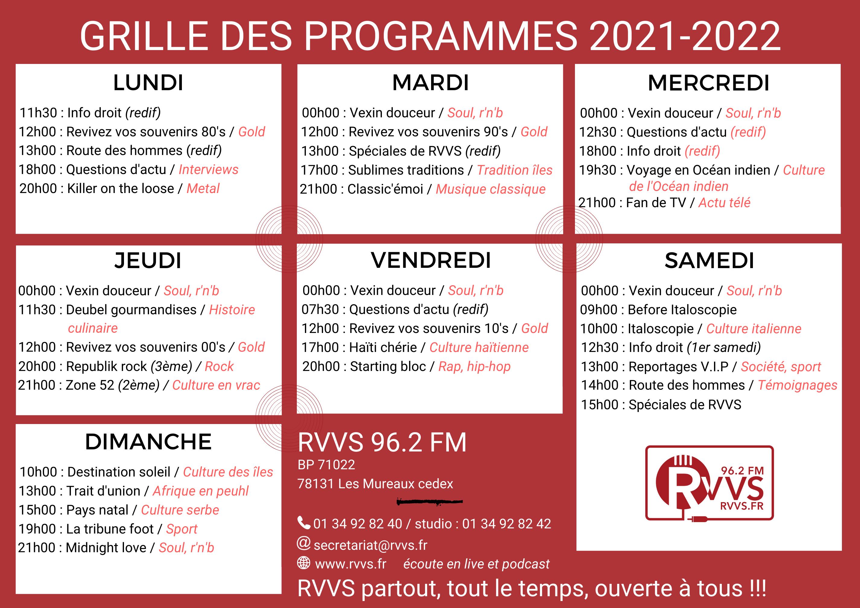 2021-2022 GRILLE DES PROGRAMMES horaires